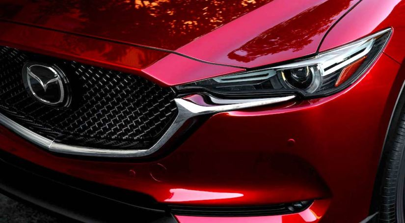Closeup of red 2019 Mazda CX5 grille