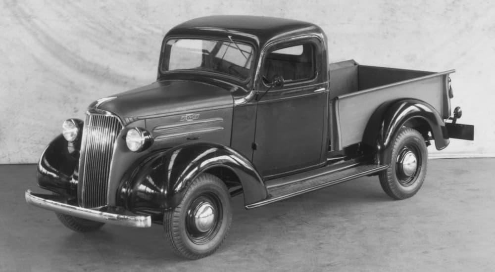 A 1937 Chevy GC Series truck, hard to find among used Chevy trucks, is shown in black and white.