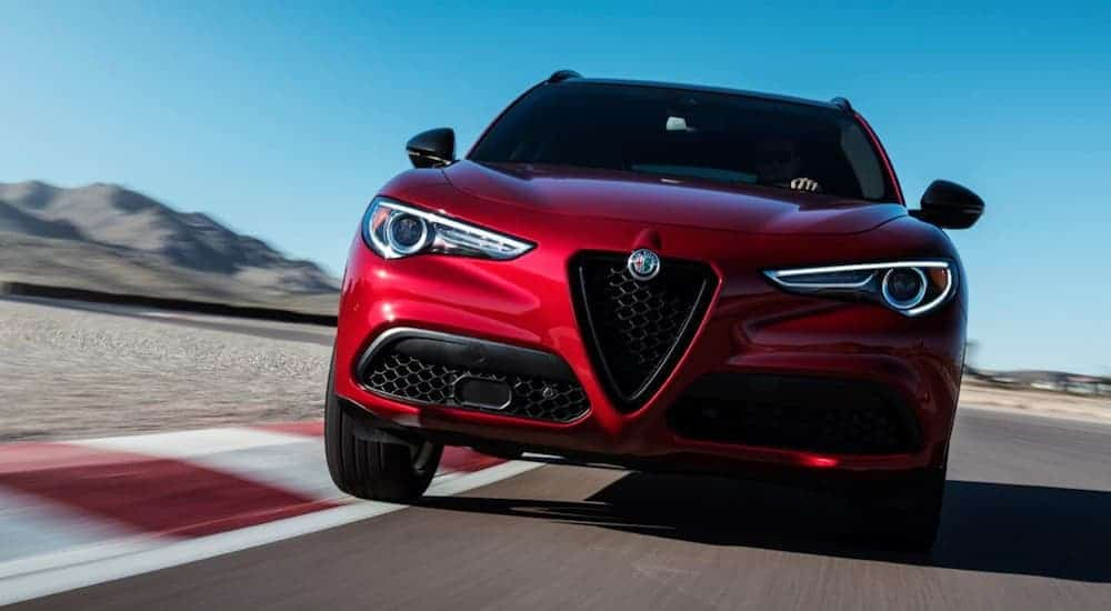 A 2019 red Stelvio is taking a corner on a racetrack.