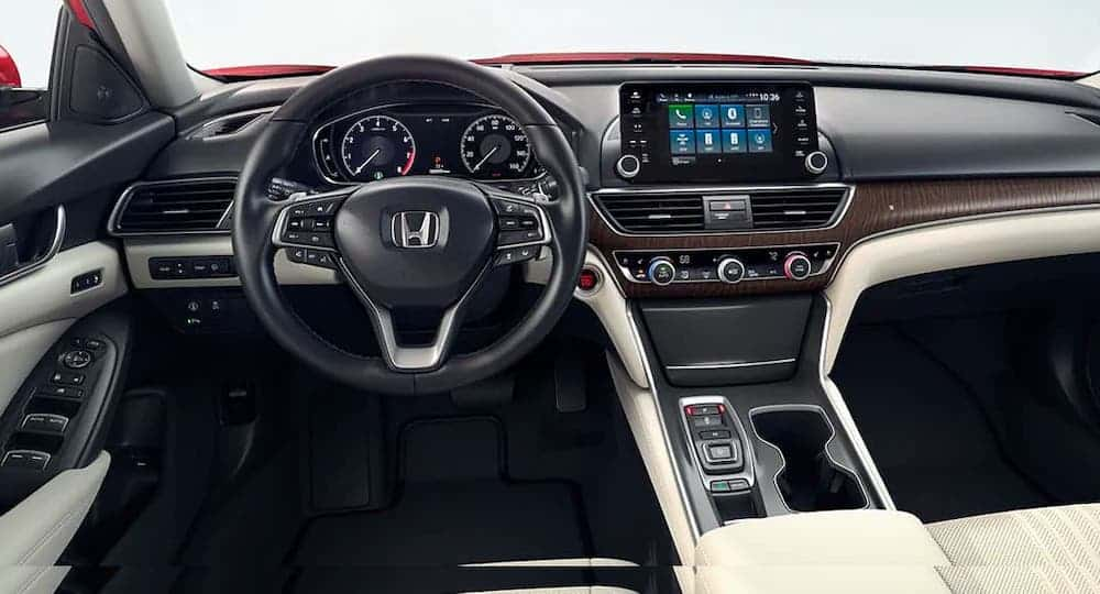 The black and white interior of a 2020 Honda Accord Touring 2.0T is shown.
