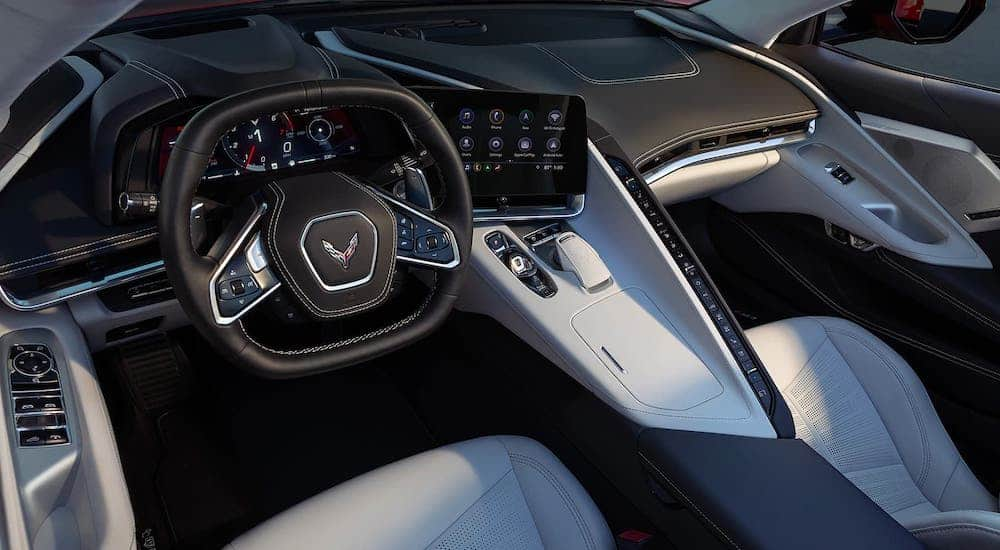 The interior of a 2021 Chevy Corvette Stingray is shown, see one yourself at your local Chevy dealer.
