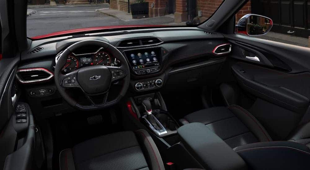 The black interior of a 2021 Chevy Trailblazer RS is shown.