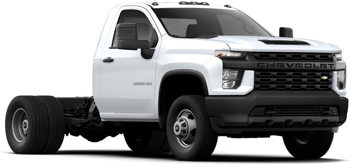 A white 2021 Chevy Silverado 3500 HD Chassis Cab with no bed is on a white background.