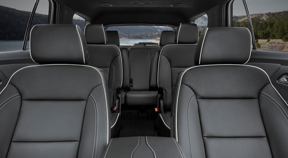 The interior of a 2022 Chevy Traverse shows three rows of seating.