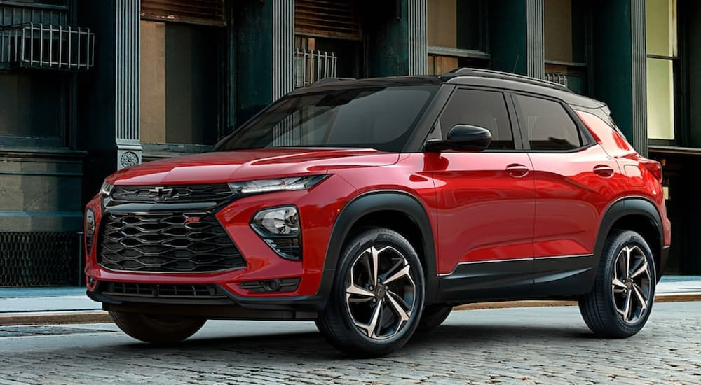 A red 2022 Chevy Trailblazer RS is shown parked in a city.
